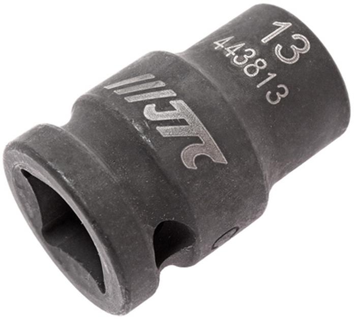 """JTC Головка торцевая ударная 6-гранная 1/2 х 13 мм, длина 38 мм. JTC-443813CA-35056 граней, метрический размер.Изготовлена из высококачественной хром-молибденовой стали.Размер: 1/2""""х13 мм. Общая длина: 38 мм.Количество в оптовой упаковке: 10 шт. и 200 шт.Габаритные размеры: 38/25/25 мм. (Д/Ш/В)Вес: 75 гр."""