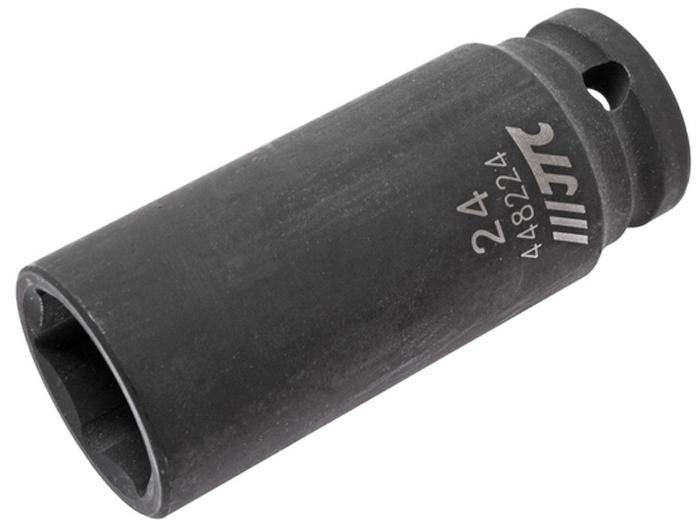 """JTC Головка торцевая ударная глубокая 6-гранная 1/2 х 24 мм, длина 82 мм. JTC-448224982981306 граней, метрический размер.Изготовлена из высококачественной хром-молибденовой стали.Размер: 1/2""""х24 мм. Общая длина: 82 мм.Количество в оптовой упаковке: 10 шт. и 50 шт.Габаритные размеры: 82/34/34 мм. (Д/Ш/В)Вес: 334 гр."""