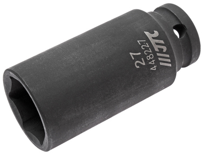 """JTC Головка торцевая ударная глубокая 6-гранная 1/2 х 27 мм, длина 82 мм. JTC-448227FS-804236 граней, метрический размер.Изготовлена из высококачественной хром-молибденовой стали.Размер: 1/2""""х27 мм. Общая длина: 82 мм.Количество в оптовой упаковке: 10 шт. и 50 шт.Габаритные размеры: 82/38/38 мм. (Д/Ш/В)Вес: 393 гр."""