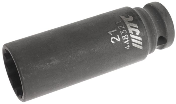 """JTC Головка торцевая ударная тонкостенная 12-гранная 1/2 х 21 мм, длина 82 мм. JTC-448321CA-35056 граней, метрический размер.Общая длина: 82 мм.Размер: 1/2"""" Dr.х21 мм.Изготовлена из высококачественной хром-молибденовой стали.Габаритные размеры: 82/20/20 мм. (Д/Ш/В)Вес: 200 гр."""