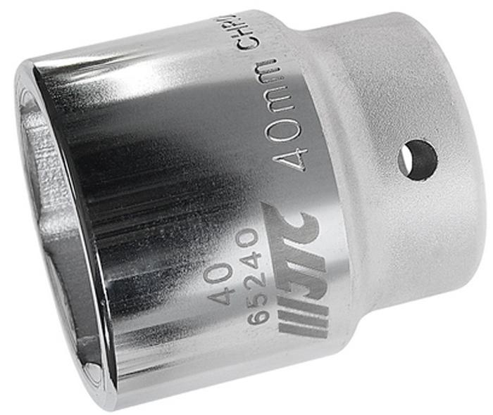 """JTC Головка6-гранная 3/4 х 40 мм, длина 64 мм. JTC-65240CA-35056 граней, метрический размер.Диаметр: 40 мм.Общая длина: 64 мм.Размер: 3/4"""" Dr.Изготовлена из закаленной хром-ванадиевой стали.Габаритные размеры: 64/60/60 мм. (Д/Ш/В)Вес: 770 гр."""