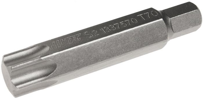 JTC Вставка 10 мм TORX удлиненная Т70х75 мм. JTC-1337570CA-3505Размер: Т70 х 75 мм., удлиненная TORX.Длина насадки: 10 мм.Материал: S2 сталь.