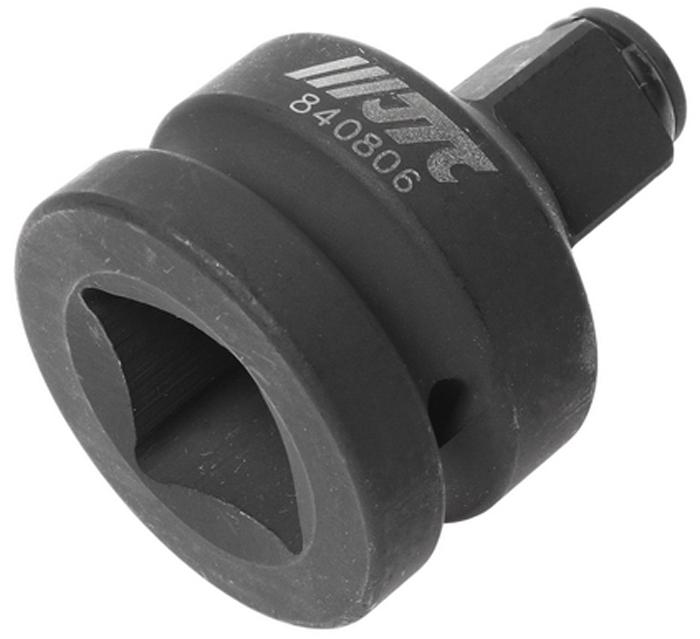 """JTC Адаптер ударный F1 х M3/4. JTC-840806K100Изготовлен из высококачественной хром-молибденовой стали. Размер: F1""""хМ3/4″. Диаметр: 54 мм. Длина: 68 мм.Количество в оптовой упаковке: 2 шт. и 20 шт.Габаритные размеры: 68/54/54 мм. (Д/Ш/В)Вес: 555 гр."""