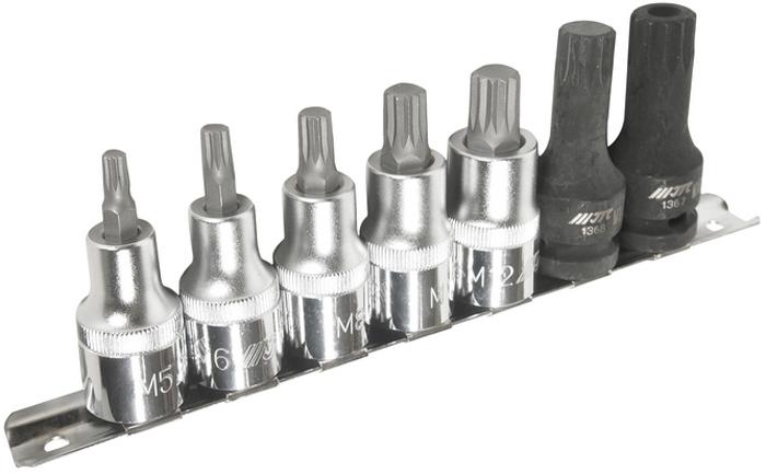JTC Набор насадок SPLINE 1/2 M5-M14, M16H, 7 предметов. JTC-H407MCA-3505В комплекте: М5, М6, М8, М10, М12, М14, М16Н. Общее количество: 7 шт. Материал: высококачественная хром-молибденовая и хром-ванадиевая сталь.