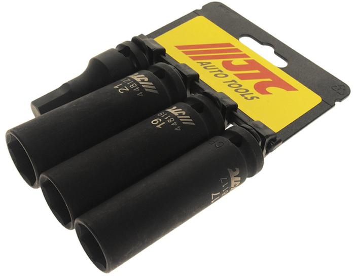 JTC Набор головок ударных тонкостенных глубоких 1/2, 4 шт. JTC-J404BWT-CD37В комплекте: 3 шт. 1/2 x 82 17, 19, 21 мм головки тонкостенные ударные.1 шт. головка ударная шестигранная 1/2 x 60 H12.