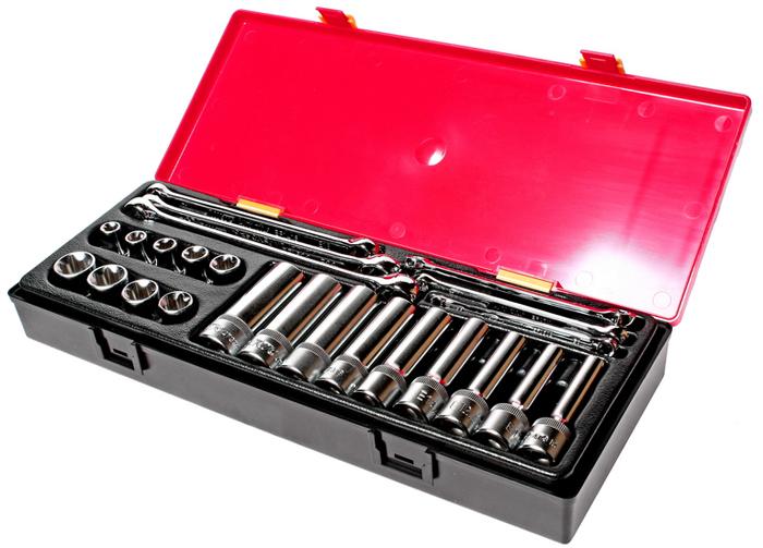JTC Набор инструментов TOPX. JTC-K424198298123_черныйВ комплекте:Артикулы JTC-43510-24: головки TORX 1/2;: E10, E11, E12, E14, E16, E18, E20, E22, E24 - 9 шт. Артикулы JTC-47310-24: головки глубокие TORX 1/2;: E10, E11, E12, E14, E16, E18, E20, E22, E24 - 9 шт. Артикулы JTC-EF0608-EF2024: ключ TORX: E6xE8, E7xE11, E10xE12, E14xE18, E16xE22, E20xE24 - 6 шт.Общее количество предметов: 24 шт.Комплект упакован в прочный презентабельный бокс. Габаритные размеры: 370/145/55 мм. (Д/Ш/В)Вес: 2700 гр.