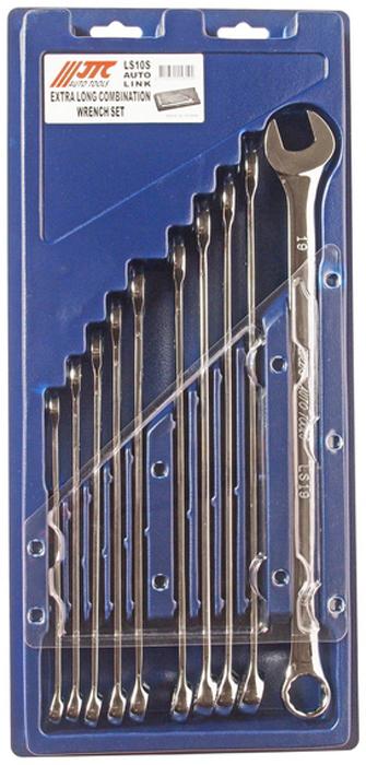 JTC Набор ключей комбинированных удлиненных 10-19 мм 10 шт. JTC-LS10SRC-100BWCПредназначены для проведения ремонтных работ автомобиля.Ключи сделан из прочной хром-ванадиевой стали с зеркальной полировкой.Размеры в комплекте: 10, 11, 12, 13, 14, 15, 16, 17, 18, 19 мм. Общее количество ключей: 10 шт. Упаковка: прочный переносной бокс. Габаритные размеры: 440/205/40 мм. (Д/Ш/В)Вес: 1641 гр.