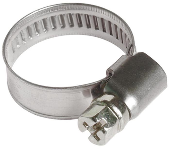 Хомут червячный JTC, 16-25 мм. JTC-ZN25FS-80423Хомут червячный JTC выполнен из нержавеющей стали. Особая конструкция хомута позволяет выставлять различные диаметры с помощью стяжного винта. Увеличенная площадь рабочей поверхности болта позволяет сильнее затягивать хомут, делая крепление материалов более надежным. Обладает высоким сопротивлением скручиванию (60 кг/см2 для ленты шириной 9 мм, 80 кг/см2 для ленты шириной 12 мм) и высокой прочностью. Специальная кромка не оставляет заусениц и не повреждает поверхность шланга.Диапазон применения: 16-25 мм.Ширина ленты: 9 мм.Толщина ленты: 0,6 мм.