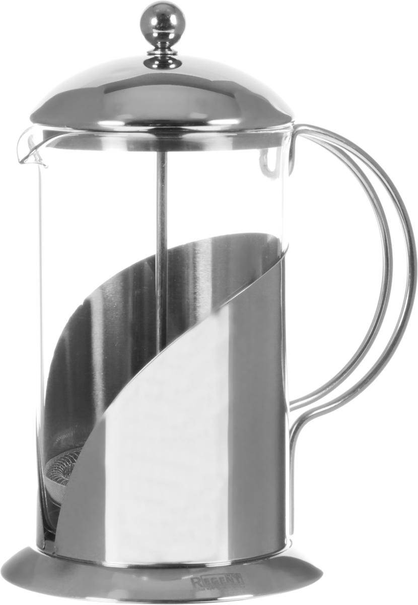 Френч-пресс Regent Inox Franco, 0,8 л. 93-FR-05-01-80093-FR-05-01-800Френч-пресс Regent Inox Franco изготовлен их экологически чистых материалов: жаропрочного стекла и нержавеющей стали с зеркальной полировкой. Корпус оснащен удобной ручкой. Фильтр-поршень из нержавеющей стали обеспечивает равномерную циркуляцию воды и насыщенность напитка. С его помощью также можно регулировать степень крепости чая. Сбоку стеклянной колбы имеется носик для удобного слива жидкости.Френч-пресс Regent Inox позволит быстро приготовить свежий и ароматный кофе или чай. На упаковке - инструкция в картинках, которая поможет вам правильно заварить чай или кофе. Можно мыть в посудомоечной машине.Высота (с учетом крышки): 23 см.Диаметр колбы по верхнему краю: 9,5 см.Высота стенки колбы: 18 см.Объем: 0,8 л.Уважаемые клиенты!Обращаем ваше внимание на возможные незначительные изменения в форме ручки на крышке изделия. Поставка осуществляется в зависимости от наличия на складе.
