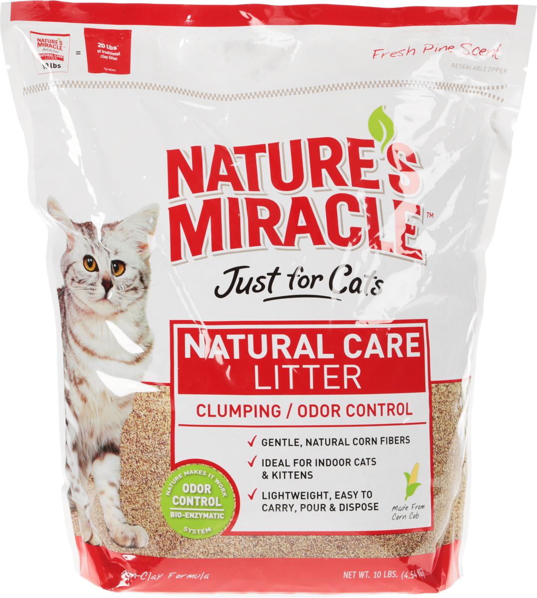 Наполнитель кукурузный для кошачьего туалета 8 in 1 Natures Miracle, комкующийся, 4,5 кг0120710Наполнитель кукурузный комкующийся для кошачьего туалета 8 in 1 Natures Miracle достаточно мягкий для вашей кошки или котенка и уничтожает все неприятные запахи. Благодаря био-энзимной системе контроля запахов, формула начинает уничтожать запахи мочи, фекалий и аммиака в момент их возникновения, препятствуя их распространению по всему дому, и продолжает действовать, пока запах не будет полностью устранен. Натуральные кукурузные гранулы абсорбируют в 4 раза больше жидкости, чем бентонитовые наполнители, быстро комкуются, чтобы связать запах, и быстро высыхают для предупреждения следов от лап. Нетоксичная формула и просеивание гранул наполнителя делают его очень мягким, приятным для лапок и безопасным в случае ран или царапин на подушечках. Кукурузный наполнитель 8 in 1 Natures Miracle не содержит глину и красителей, обладает естественным хвойным запахом и практически не пылит, чтобы обеспечить здоровую среду около кошачьего туалета.Способ применения: Насыпьте в кошачий туалет наполнитель слоем 5-8 см. Ежедневно убирайте комочки наполнителя и фекалии животного для максимальной свежести и контроля запаха. Добавляйте необходимое количество наполнителя до уровня 5-8 см. Раз в неделю или в случае загрязнения лотка вымойте его, высушите и заполните свежим наполнителем. Обязательно мойте руки после уборки кошачьего туалета. Некоторых кошек нужно приучать к новым наполнителям. Постепенно смешивайте кукурузный наполнитель со старым наполнителем до полного перехода на него.Состав: дробленые кукурузные початки, натуральные ферменты. Товар сертифицирован.