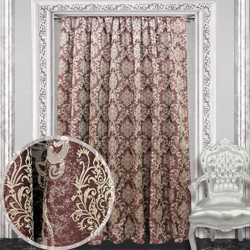 Портьера Amore Mio Жаккард, на ленте, цвет: бордовый, высота 270 см. 84468DW90Портьера Amore Mio Жаккард из плотной ткани придаст современный вид любому интерьеру. Ткань изготовлена из 100% полиэстера. Полиэстер - вид ткани, состоящий из полиэфирных волокон. Ткани из полиэстера легкие, прочные и износостойкие. Такие изделия не требуют специального ухода, не пылятся и почти не мнутся.Крепление к карнизу осуществляется при помощи вшитой шторной ленты.