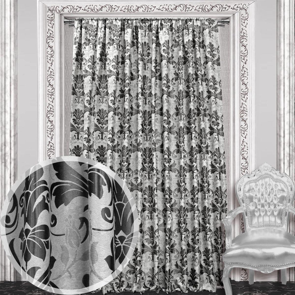 Штора Amore Mio, на ленте, цвет: черный, высота 270 см. 86048кн12-60авцШтора Amore Mio с роскошным рисунком изготовлена из 100% полиэстера. Полиэстер - вид ткани, состоящий из полиэфирных волокон. Ткани из полиэстера легкие, прочные и износостойкие. Такие изделия не требуют специального ухода, не пылятся и почти не мнутся.Крепление к карнизу осуществляется при помощи вшитой шторной ленты.
