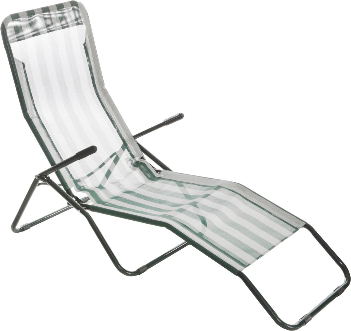 Шезлонг складной Reka, с подголовником, цвет: темно-зеленый, белый, 153 х 60 х 79 смWS 7064Складной шезлонг Reka прекрасно подходит для отдыха за городом, на природе. Каркас изделия выполнен из прочного металла. Материал кресла - специальный текстиль, его сетчатая структура устойчива к ультрафиолетовому излучению. Также этот материал почти не впитывает влагу и моментально сохнет, что обеспечит максимальный комфорт даже в летнюю жару. Подлокотники шезлонга изготовлены из металла с пластиковыми накладками.