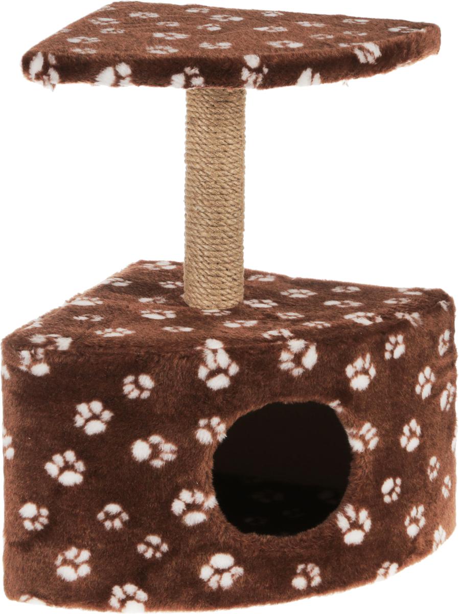 Игровой комплекс для кошек Меридиан, с домиком и когтеточкой, цвет: коричневый, белый, бежевый, 39 х 39 х 62 см0120710Игровой комплекс для кошек Меридиан выполнен из высококачественного ДВП и ДСП и обтянут искусственным мехом. Изделие предназначено для кошек. Ваш домашний питомец будет с удовольствием точить когти о специальный столбик, изготовленный из джута. А отдохнуть он сможет либо на полке, находящейся наверху столбика, либо в расположенном внизу домике.Общий размер: 39 х 39 х 62 см.Размер полки: 38 х 38 см.Размер домика: 39 х 39 х 29 см.