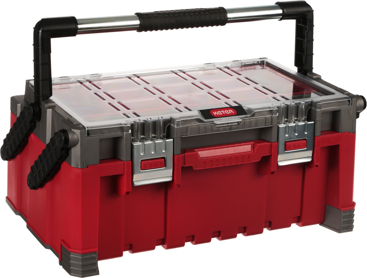 Ящик кантиливер Keter Master Pro, цвет: красный, серый, 56,7 х 31,4 х 24,5 смRC-100BWCЯщик для инструментов Keter Master Pro изготовлен из прочного пластика и предназначен для хранения и переноски инструментов. Вместительный, внутри имеет большое отделение под инструменты. На крышке расположен органайзер, который имеет 9 маленьких съемных контейнеров и 2 больших. Закрывается при помощи крепких защелок, которые не допускают случайного открывания. Для более комфортного переноса в руках, на крышке ящика предусмотрена удобная ручка. Размеры ящика: 56,7 х 31,4 х 24,5 см. Глубина ящика: 16 см. Размеры малого контейнера: 9,5 х 6 х 5 см. Размеры большого контейнера: 17,5 х 9 х 5 см.