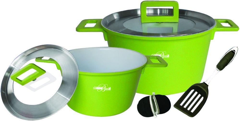 Набор посуды Barton Steel, 7 предметовRDS-822Набор посуды Barton Steel имеет внутреннее противопригарное белое керамическое покрытие. Стеклянные крышки с отверстием для вывода пара. Размер: кастрюли 24 х 14 см. 4,5 л; 28 х 12 см. 7 л; Нейлоновая лопатка. В комплекте чехлы-прихватки для ручек.