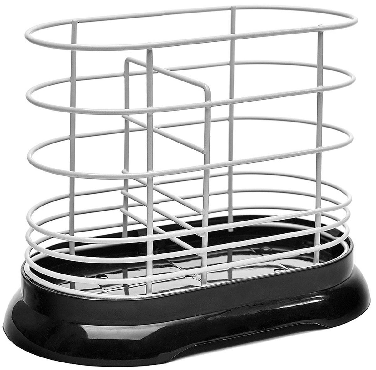 Подставка для столовых приборов Walmer, цвет: черный, 16 x 8,5 x 13,5 смВетерок 2ГФПодставка для столовых приборов Walmer имеет лаконичный дизайн и подойдет под абсолютно любой интерьер кухни. Основание изделия изготовлено из качественного пластика. Если на приборах осталось немного воды, то она не будет стекать на стол, а останется в съемном поддоне. А материалом для прутков корпуса является сталь с порошковым покрытием – прочная и устойчивая к коррозии. К слову, в нижней части расстояние между прутками меньше, чтобы ручки столовых приборов не выскальзывали из подставки.Подставка Walmer не займет слишком много места на вашей кухне. Ее назначение в том, чтобы экономить пространство и упрощать жизнь своим владельцам. Для удобства в ней есть разделитель, который позволяет хранить приборы в разных отсеках.