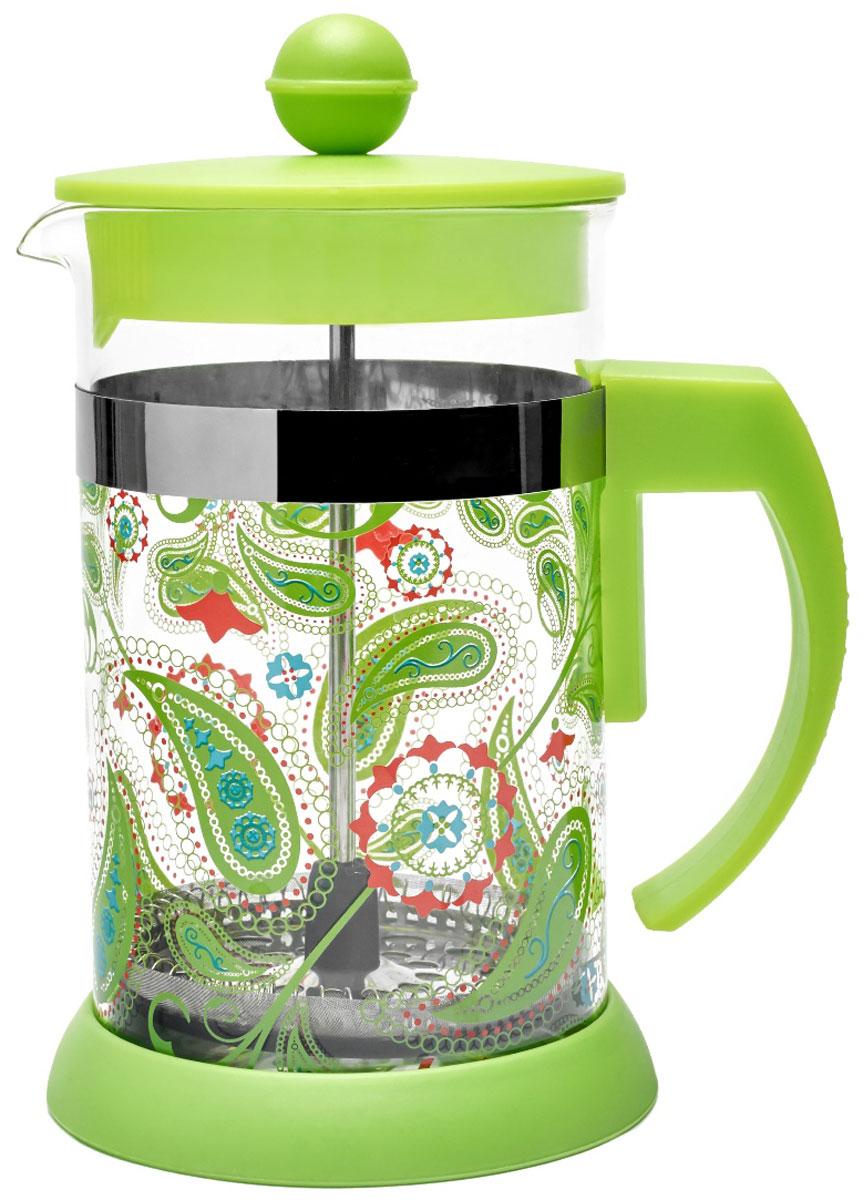 Френч-пресс Walmer Paisley Green, 600 мл54 009312Френч-пресс Walmer Paisley Green станет прекрасным выбором для повседневного использования, встречи гостей или небольших вечеринок. Колба, изготовленная их закаленного стекла, сохранит свежесть и аромат напитка. А конструкция френч-пресса, встроенного в крышку, прекрасно отфильтрует чай и кофе от заварочной гущи. Удобная ручка обеспечит надежную фиксацию в руке. Утолщенный ободок колбы повышает прочность и продлевает срок службы изделия. Насыпьте чай или кофе в стеклянную колбу, добавьте горячей воды и закройте стакан пресс-фильтром. Подождите 3-5 минут, затем медленно опустите пресс-фильтр до упора. Приятного чаепития!Френч-пресс Walmer Paisley Green позволит быстро и просто приготовить чай или свежий и ароматный кофе. Объем: 600 мл.Размер френч-пресса: 13 х 10 х 17,5 см.