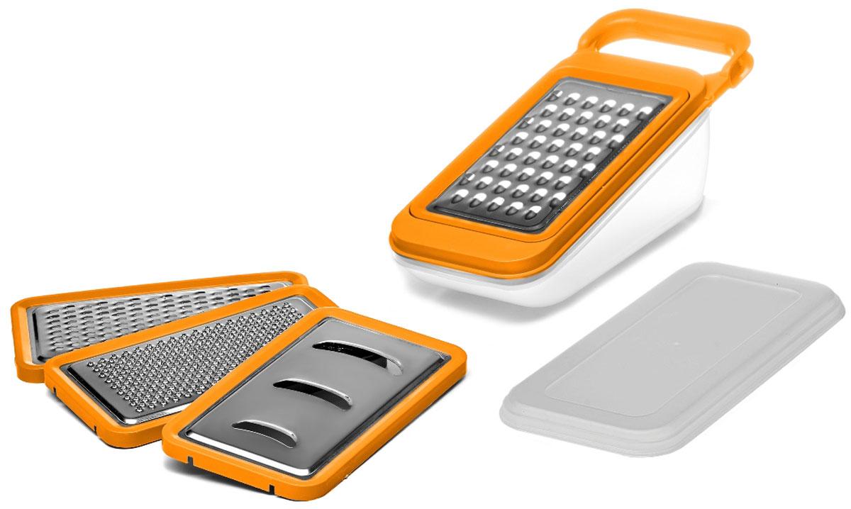Терка Walmer Rainbow, с контейнером, цвет: оранжевый, серый, 4 насадки, 26 х 10,2 х 10,5 смW26020126Терка Walmer Rainbow изготовлена из высококачественной стали и пластика. Она непременно понравится каждой хозяйке. В набор входит 4 терки-насадки: крупная терка, мелкая терка, терка для создания пюре и стружки и шинковка. Насадка под наклоном одевается на специальный контейнер. Измельченные продукты собираются в него, а поверхность стола остается чистой. Контейнер снабжен крышкой, что позволяет использовать его для хранения продуктов.Ручка изделия позволяет удобно взяться за нее и зафиксировать терку на столе, когда вы готовите. Для того, чтобы терку было удобно мыть, режущая поверхность снимается.Размер терки (с контейнером): 26 х 10,2 х 10,5 см.