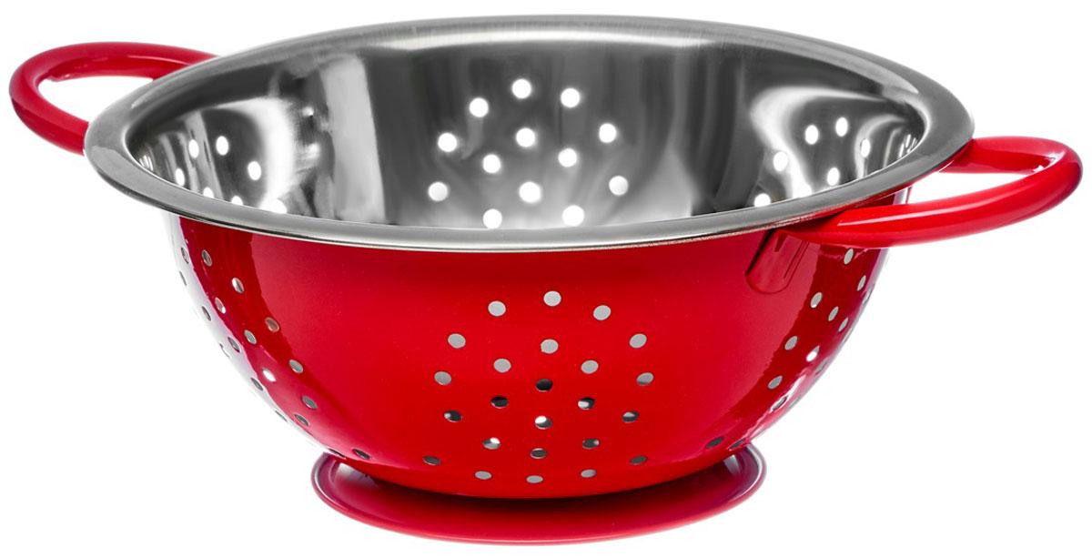 Дуршлаг Walmer Holly, цвет: красный, серый, диаметр 22 смW26020222Дуршлаг Walmer Holly, изготовленный из высококачественной нержавеющей стали, станет полезным приобретением для вашей кухни. Он предназначен для сливания жидкости, например, после варки макаронных изделий, круп или картофеля. Также дуршлаг используется для мытья и промывания ягод, грибов, мелких фруктов и овощей. Дуршлаг оснащен устойчивым основанием и удобными ручками по бокам.Диаметр (по верхнему краю): 22 см. Ширина (с учетом ручек): 29,5 см. Высота стенки: 9 см.