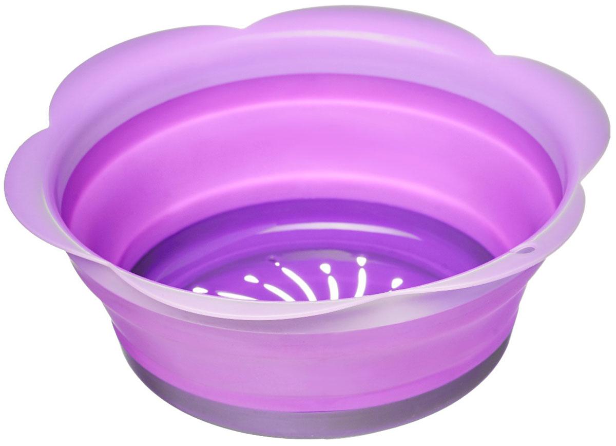 Дуршлаг Walmer Rainbow, складной, цвет: фиолетовый, диаметр 22 см115510Дуршлаг Walmer Rainbow изготовлен из качественного пищевого силикона с пластиковыми деталями, с помощью которых он держит форму. Благодаря гибкости материала, дуршлаг легко складывается и занимает минимум места при хранении. В таком дуршлаге удобно промывать ягоды, фрукты, овощи, а также процеживать макароны. Дуршлаг является необходимым аксессуаром для каждой кухни. Он станет полезным и практичным приобретением.Диаметр (по верхнему краю): 22 см.Высота стенки: 8,5 см.