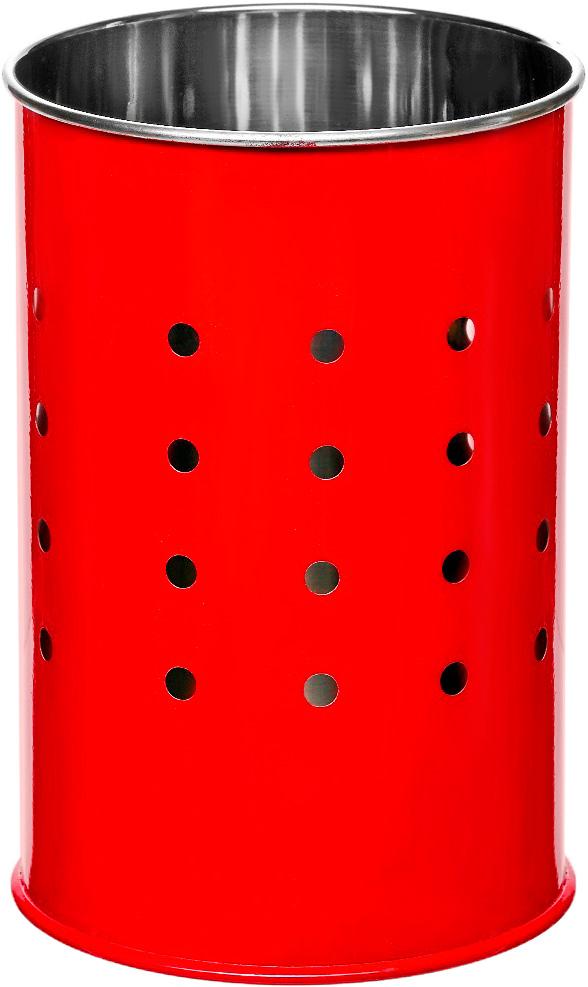 Подставка для столовых приборов Walmer Holly, цвет: красный, серый, 10 х 10 х 15 смFD-59Подставка для столовых приборов Walmer Holly выполнена из нержавеющей стали с перфорацией. Подходит для размещения ложек, вилок, ножей и предметов кухонной утвари. Изделие для столовых приборов выполнено в оригинальном дизайне, оно не займет много места, а столовые приборы будут всегда под рукой. Диаметр поставки: 10 см. Высота подставки: 15 см.
