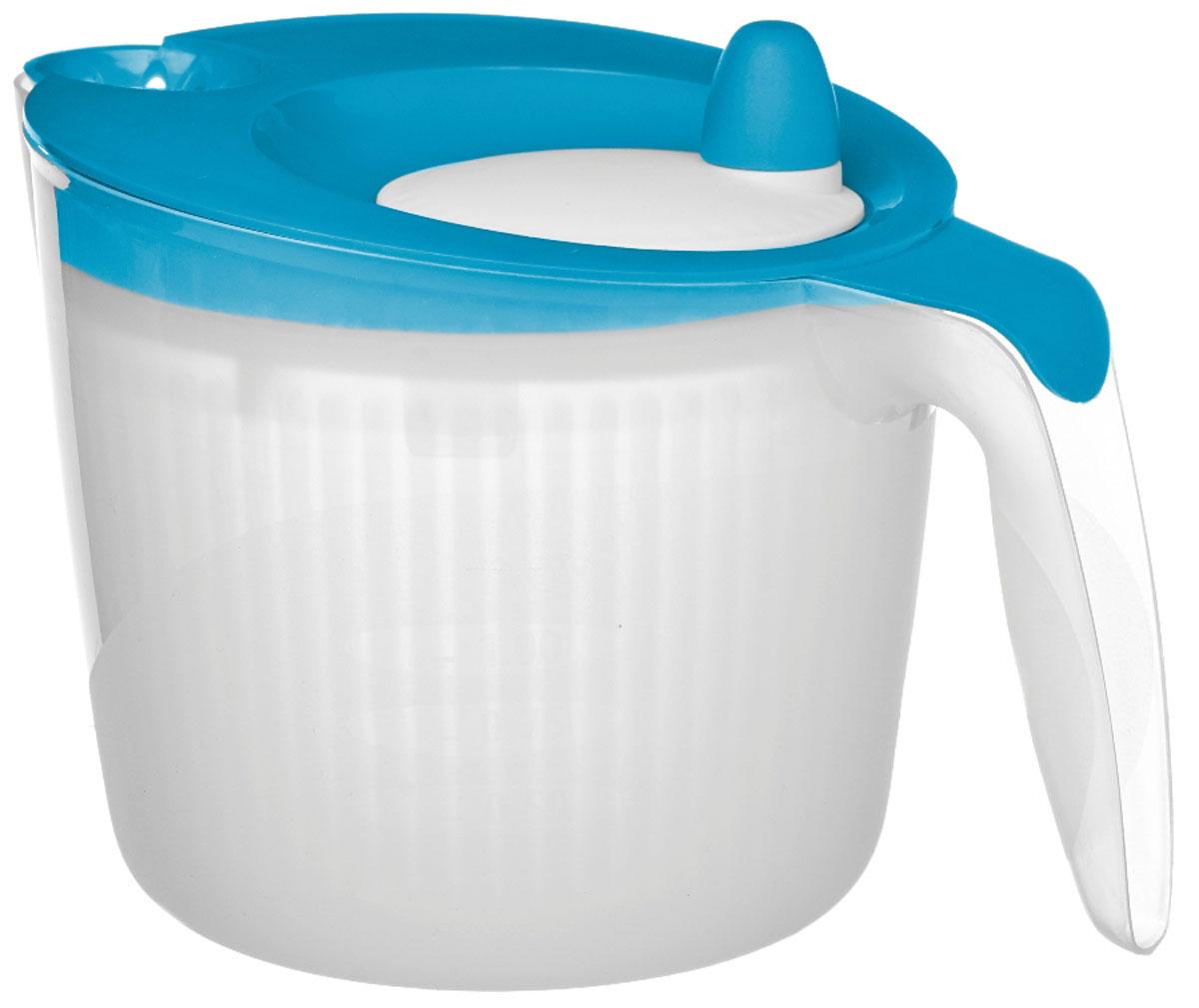 Сушилка для салата Walmer Rainbow, цвет: голубой, 1,8 л68/5/2Сушилка для салата Walmer Rainbow - незаменимая вещь на кухне. Обсушивать в ней можно, конечно же, не только салат, но любую зелень: петрушку, укроп, перья лука, рукколу. Объем сушилки - 1,8 литра, а значит, вы сможете высушить за раз большой пучок зелени. Внутри сушилки находится вращающаяся сетчатая емкость. На крышке - ручка, которая эту емкость раскручивает. Положите зелень в сушилку, закройте крышку и прокрутите несколько раз ручку. Центрифуга внутри раскрутится и буквально стряхнет всю влагу с зелени.Сушилка для салата Walmer Rainbow непременно понравится каждой хозяйке.