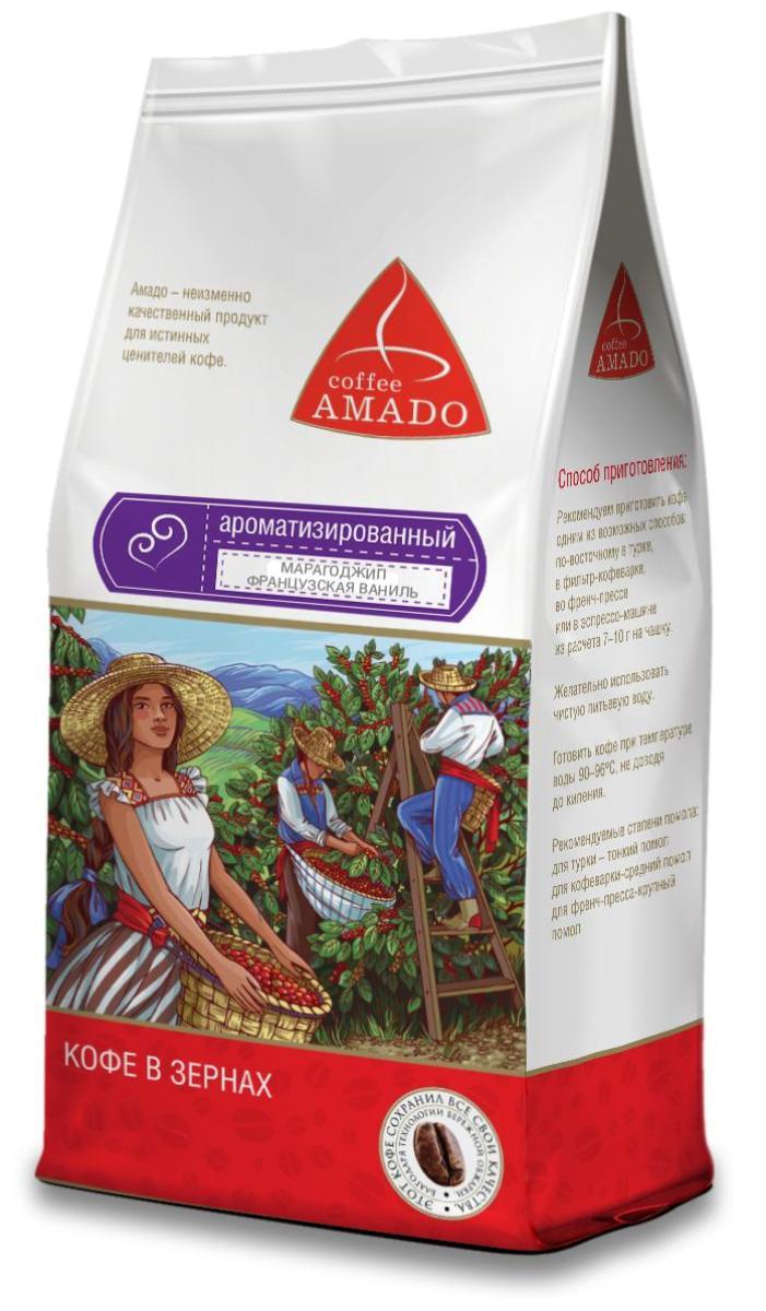 Amado Марагоджип Французская ваниль кофе в зернах, 500 г12328674Изысканное сочетание тонких ноток ванили с насыщенным вкусом кофе Марагоджип. Рекомендуемый способ приготовления: по-восточному, френч-пресс, гейзерная кофеварка, фильтр-кофеварка, кемекс, аэропресс.