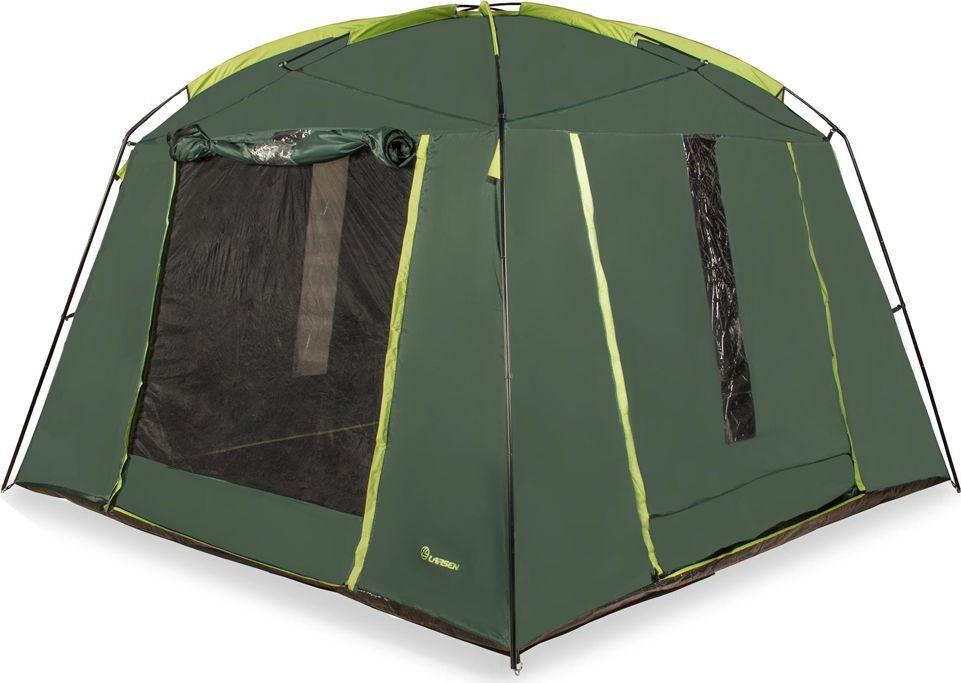 Тент-палатка Larsen Plaza N/C N/S, цвет: зеленый, 350 х 350 х 220 см244879Материал тента: полиэстер 75D/190T PU Материал пола: армированный полиэтилен 120 г/кв м Дуги: фиберглас, 11 мм + сталь, 19 мм Размеры палатки: 350 х 350 х 220 см Дополнительно: 4 входа Размеры: Вес: 11,65 кг Антимоскитная сетка : + Проклеенные швы: + Водонепроницаемость: 1500 мм