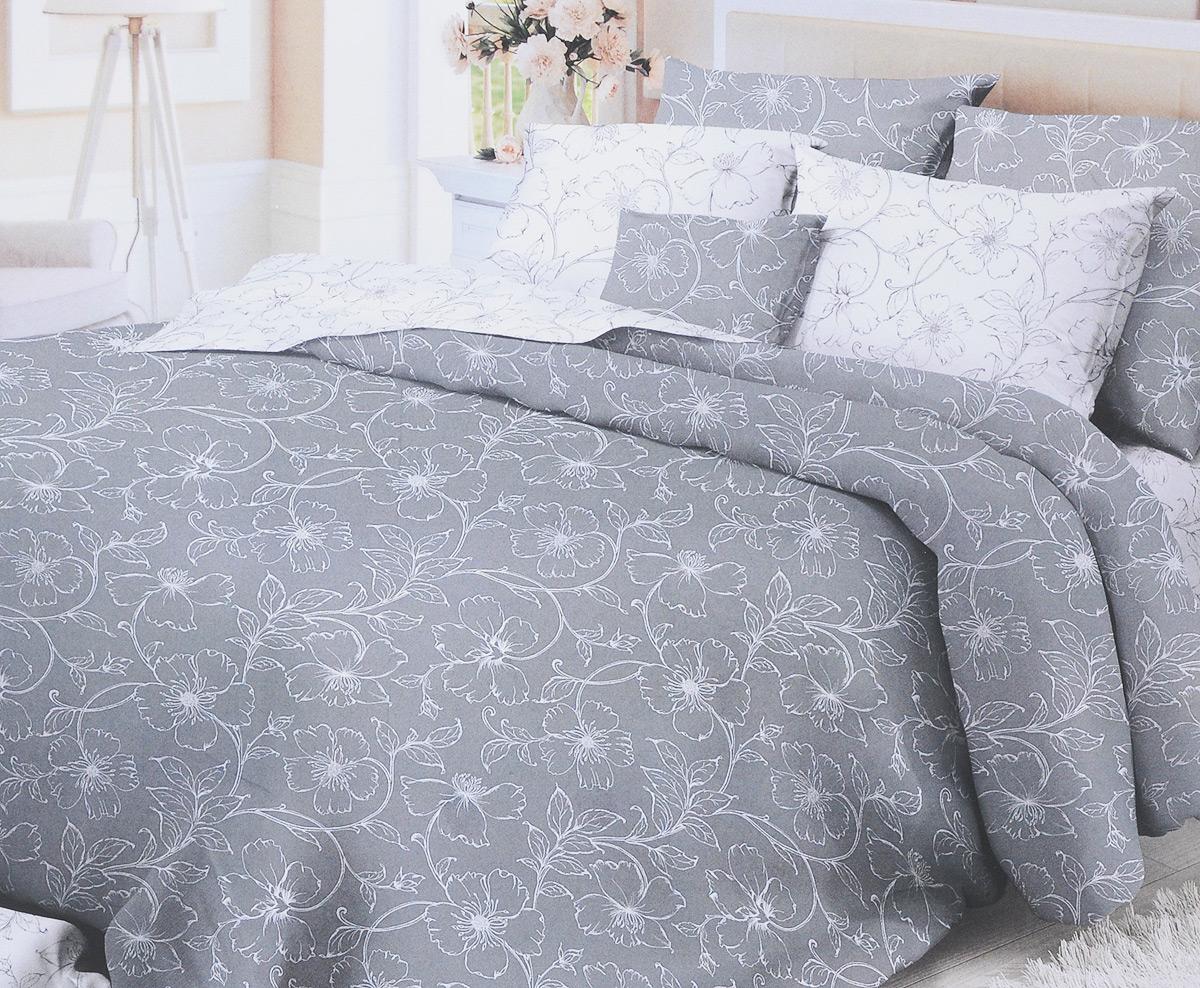 Комплект белья Verossa Tiffany, 2-спальный, наволочки 70x70, цвет: белый, серый10503Комплект белья Verossa Tiffany состоит из пододеяльника, простыни и двух наволочек. Предметы комплекта оформлены изысканным цветочным узором. Белье изготовлено из сатина - это легкая, прочная, шелковистая ткань, которая производится из высококачественного натурального хлопка по итальянским технологиям. Переливы сатина завораживающе красивы, рисунки и оттенки цвета выглядят живыми и объемными. Именно за счет блеска эта ткань схожа с шелком, но значительно дешевле. Роскошь для глаз сменяется роскошью прикосновений. Сатин шелковистый на ощупь, он будто ласкает кожу. Сатин обладает еще массой достоинств - не садится, не пилингуется, не линяет. Обладает высокой мягкостью, гладкостью, что позволяет ощутить особый комфорт во время сна. Сатиновое постельное белье Verossa - выбор ценителей роскошных удовольствий и комплимент изысканному вкусу.