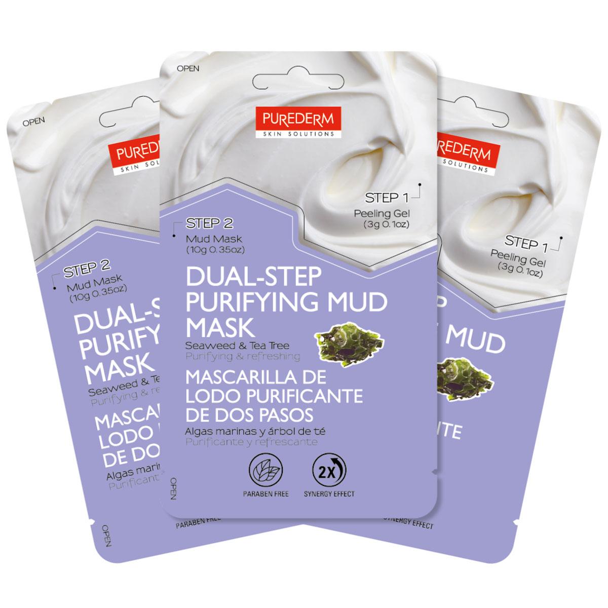 Purederm Набор Двойной уход: Отшелушивающий гель, 3 г + Очищающая грязевая маска с экстрактом водорослей и чайного дерева, 10 г увлажняющая маска purederm огурец 10 мл