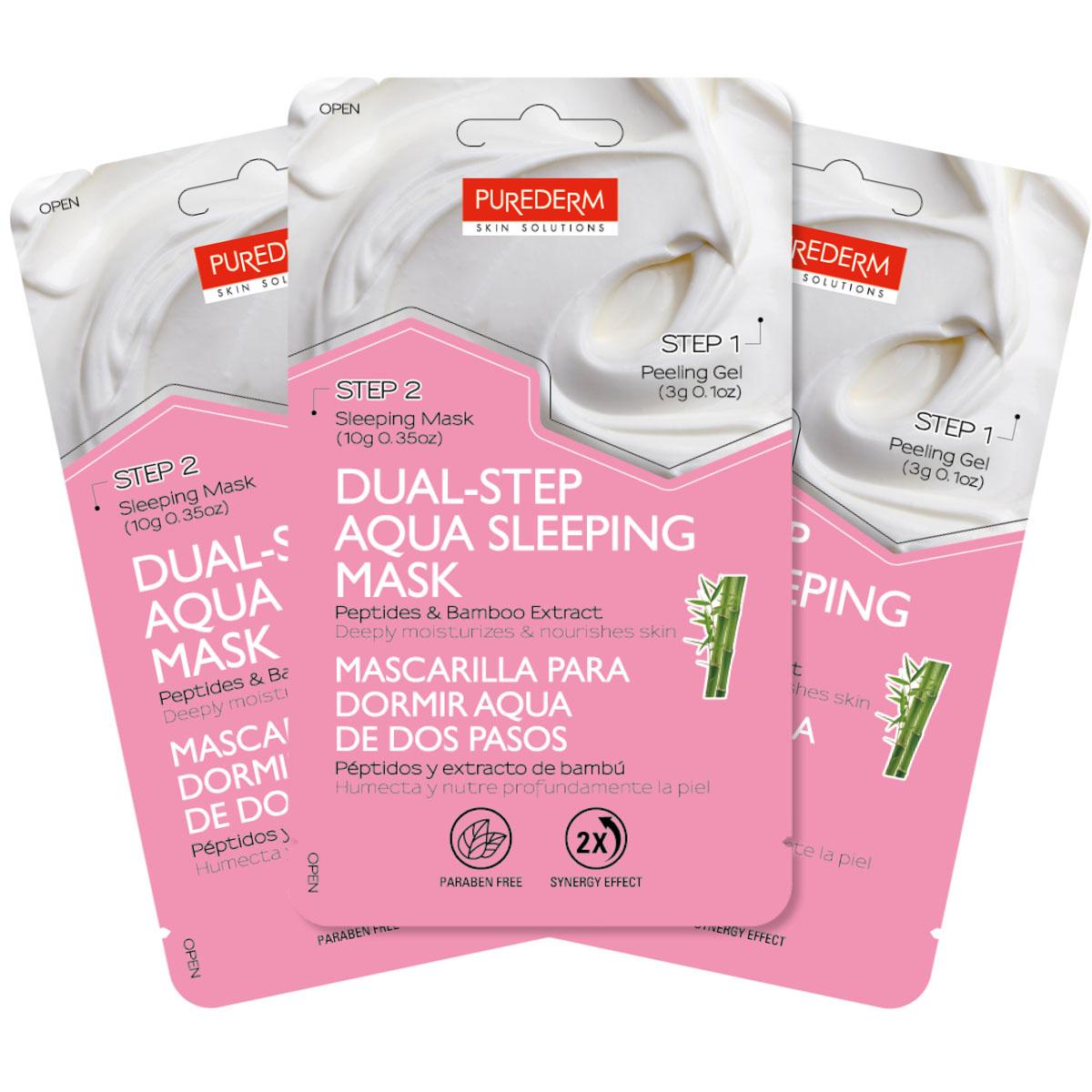Purederm Набор Двойной уход: Отшелушивающий гель, 3 г + Аква-маска ночная с пептидами и экстрактом бамбука, 10 г увлажняющая маска purederm огурец 10 мл