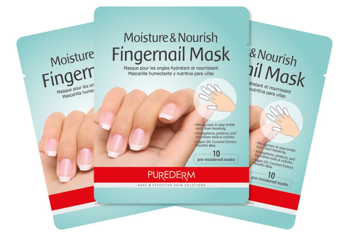 Purederm Увлажняющая и питательная маска для ногтей пальцев рук, 3 шт косметические маски purederm набор из трех масок увлажняющая и питательная маска для ногтей пальцев рук