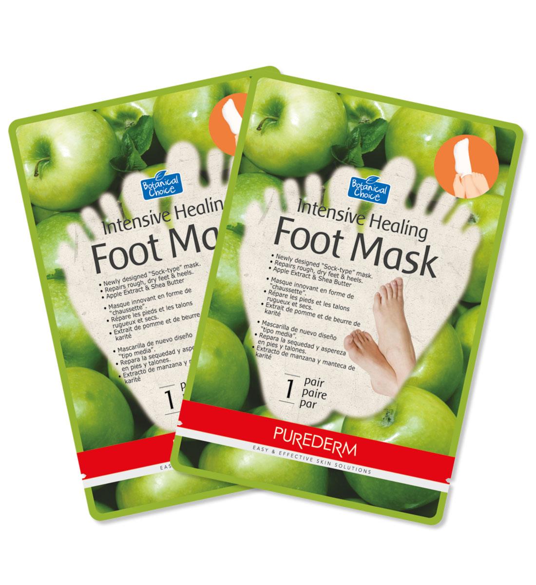 Purederm Интенсивная восстанавливающая маска для ног, 2 штFS-00897Интенсивная маска в форме носочков, восстанавливает сухую и огрубевшую кожу ног. Входящие в состав смягчающее масло Ши, экстракт яблока и перечная мята, а также другие восстанавливающие компоненты разглаживают, смягчают и восстанавливают сухую, потрескавшуюся кожу ступней и пяток, интенсивно улучшая их внешний вид. Маска для ног увлажняет и заживляет поврежденные участки кожи, интенсивно и ухаживает за огрубевшей и мозолистой кожей ног и пяток. Система 2 в 1 (маска + носочки) усиливает глубину проникновения компонентов за счет термоэффекта, что позволяет достичь наилучшего результата.