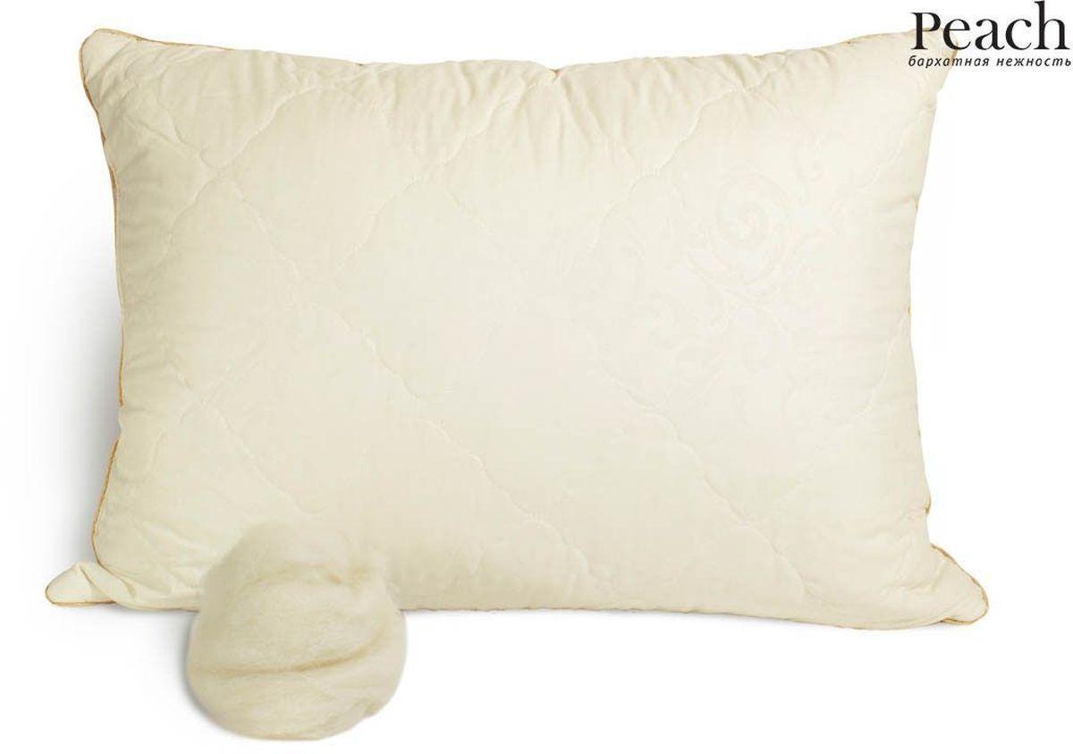 Подушка Peach, средняя, наполнитель: овечья шерсть, 50 х 70 см531-105Средняя подушка Peach прекрасно подойдет тем, кто спит на спине. Наполнитель чехла выполнен из овечьей шерсти. Главное свойство овечьей шерсти заключается в том, что она способна поддерживать естественную температуру тела. Секрет в том, что шерсть вначале впитывает влагу, оставаясь при этом сухой, - а затем испаряет ее в воздухе, отводя от тела. Овечья шерсть обладает природными антибактериальными свойствами - в ней не накапливаются микробы и бактерии. Наполнитель ядра подушки - силиконизированное волокно (искусственный лебяжий пух). Чехол выполнен из микрофибры (100% полиэстер). Подушка простегана и окантована. Стежка надежно удерживает наполнитель внутри и не позволяет ему скатываться.