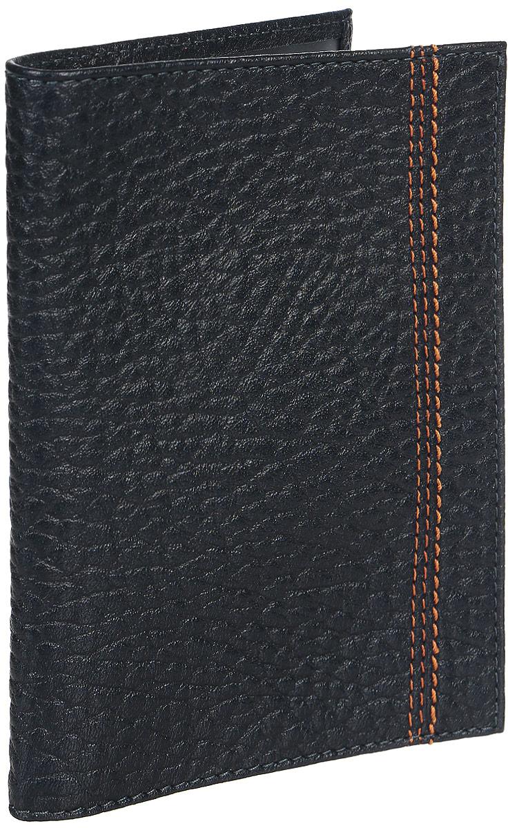 Обложка для паспорта мужская Fabula Talisman, цвет: темно-синий. O.81.BRINT-06501Обложка для паспорта из коллекции «Talisman» выполнена из натуральной кожи.На внутреннем развороте 2 кармана из прозрачного пластика, шелковистая подкладка.