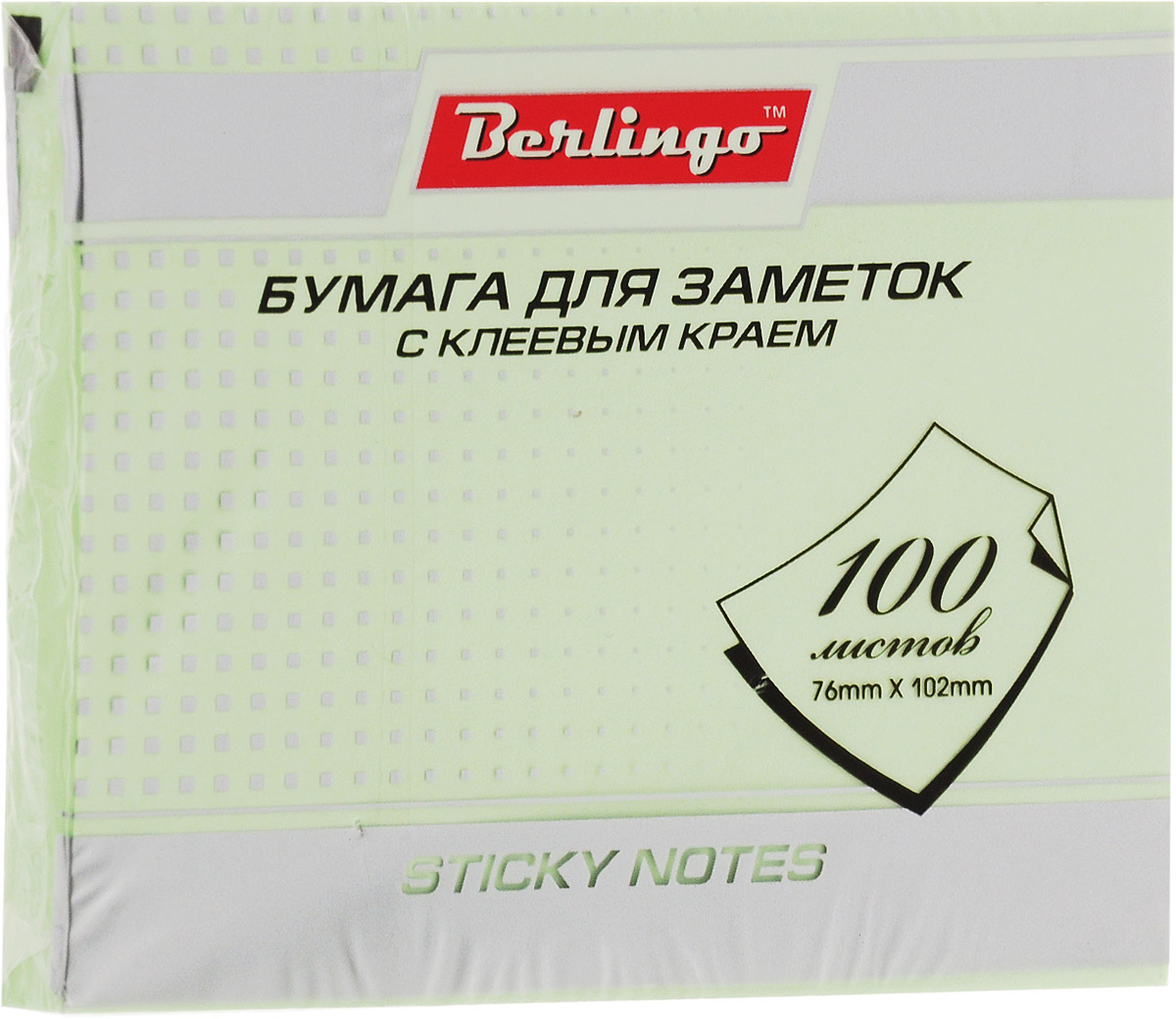 Berlingo Бумага для заметок 7,6 х 10,2 см 100 листов0703415Самоклеящаяся бумага для заметок Berlingo оснащена нежным зеленым цветом.Изготовлена бумага с использованием качественного клеевого состава и специальной основы, позволяющей клею полностью оставаться на отрываемом листке. Листки при отрывании не закручиваются, а качество письма остается одинаковым по всей площади листка.Такая бумага отлично подходит для крепления на любой поверхности. Легко отклеивается, не оставляя следов.