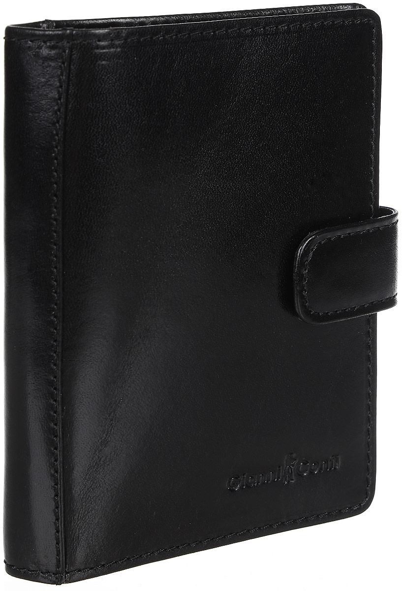 Обложка для паспорта мужская Gianni Conti, цвет: черный. 907035INT-06501Стильная обложка для паспорта Gianni Conti выполнена из натуральной кожи глянцевой текстурой. Обложка оформлена декоративной строчкой и выбитым клеймом с изображением логотипа названия бренда. Изделие раскладывается пополам и закрывается на хлястик с кнопкой, внутри расположены шесть карманов для визитных или пластиковых карт, два накладных кармана для документов и карман-стенка для паспорта.Элегантная обложка Gianni Conti не только поможет сохранить внешний вид ваших документов и защитит их от повреждений, но и станет стильным аксессуаром, идеально подходящим вашему образу.