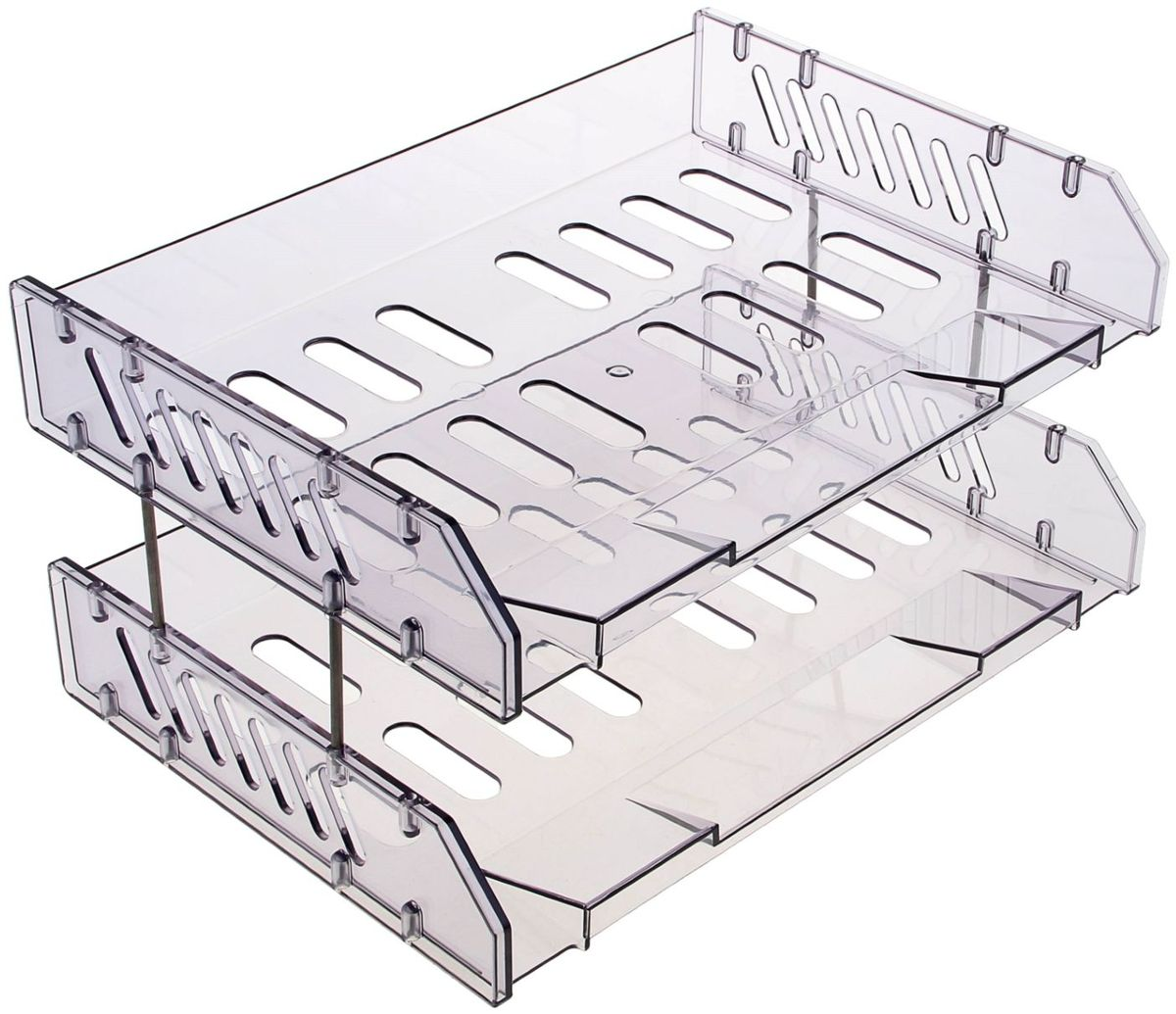 Стамм Набор горизонтальных лотков для бумаг Сити цвет прозрачный серый 2 штFS-00103Сетчатые горизонтальные лотки Стамм Сити предназначены для хранения документов, рабочих бумаг, журналов и каталогов.Набор включает два лотка из высококачественного ударопрочного пластика серого цвета. Лотки устанавливаются друг на друга и надежно скрепляются посредством металлический стержней.Горизонтальные лотки для бумаг Стамм Сити помогут в удобной организации рабочего пространства.