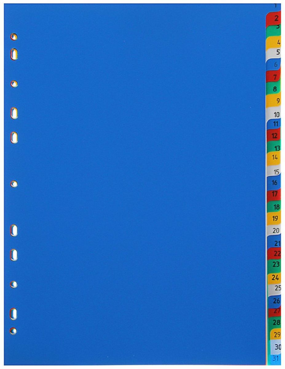 Бюрократ Разделитель листов 1-31 А41306275Пластиковый разделитель Бюрократ 1-31 поможет вам найти нужный документ в считанные секунды, организовать работу, сделать ее легче и приятнее. Он предназначен для создания абсолютного порядка при хранении и систематизации ваших документов.На титульном листе размещена информация о количестве разделов (всего их 32), что позволяет потребителю легко и быстро найти необходимый документ.