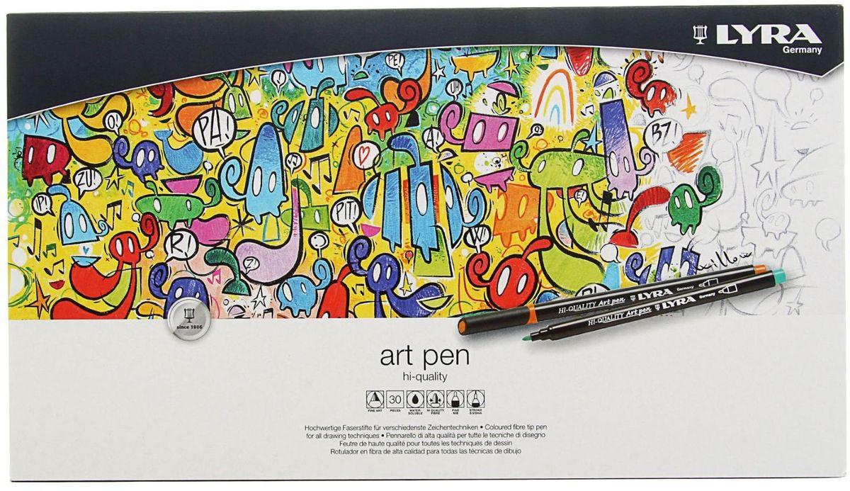 Lyra Набор фломастеров Hi-Quality Art Pen 30 цветов6106/Box 12Набор цветных фломастеров Lyra Hi-Quality Art Pen - это красивое и приятное приобретение для любого художника и дизайнера.Фломастер имеет традиционный округленный наконечник. Удивительные свойства наконечника позволяют не только проводить очень четкие линии, но и художественно оттенять большие участки рисунка. Фломастеры Hi-Quality Art Pen содержат чернила на водной основе, безопасны, светостойки. Очень яркие, чистые цвета. В наборе представлены 30 цветных фломастеров.
