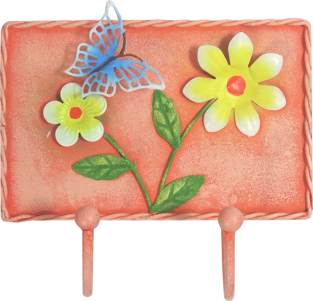 Вешалка-крючок Magic Home, двойной, цвет: оранжевый. 43886S03301004Вешалка-крючок Розовая (13,8х12,5см). Крючки настенные изготовлены из жести и оформлены красочным изображением. Вешалка имеет 2 крючка. Это изделие больше, чем просто крючки, это оригинальное интерьерное решение, которое задает настроение и стиль. Изделие не боится повседневной эксплуатации и будет служить долго.