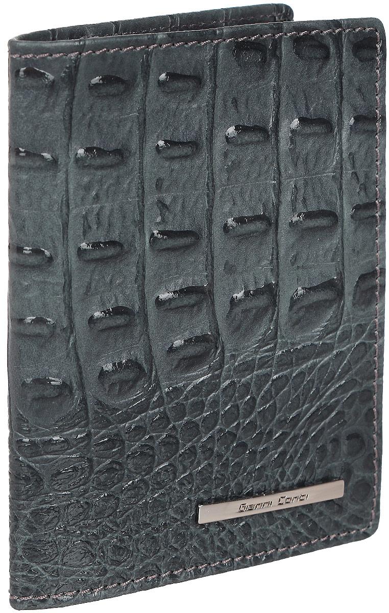 Обложка для паспорта Gianni Conti, цвет: сине-серый. 1937455YNNT0213-31Стильная обложка Gianni Conti выполнена из натуральной кожи с фактурным тиснением под крокодила и оформлена металлической пластинкой с надписью в виде логотипа бренда.На внутреннем развороте справа расположено шесть кармашков для пластиковых карт и визиток.Ширина левого разворота 3 см, правого 7 см. Оба разворота изготовлены из натуральной кожи.Такая обложка не только поможет сохранить внешний вид ваших документов и защитит их от повреждений, но и станет ярким аксессуаром, который подчеркнет ваш образ. Обложка упакована в подарочную картонную коробку желтого цвета с логотипом фирмы.