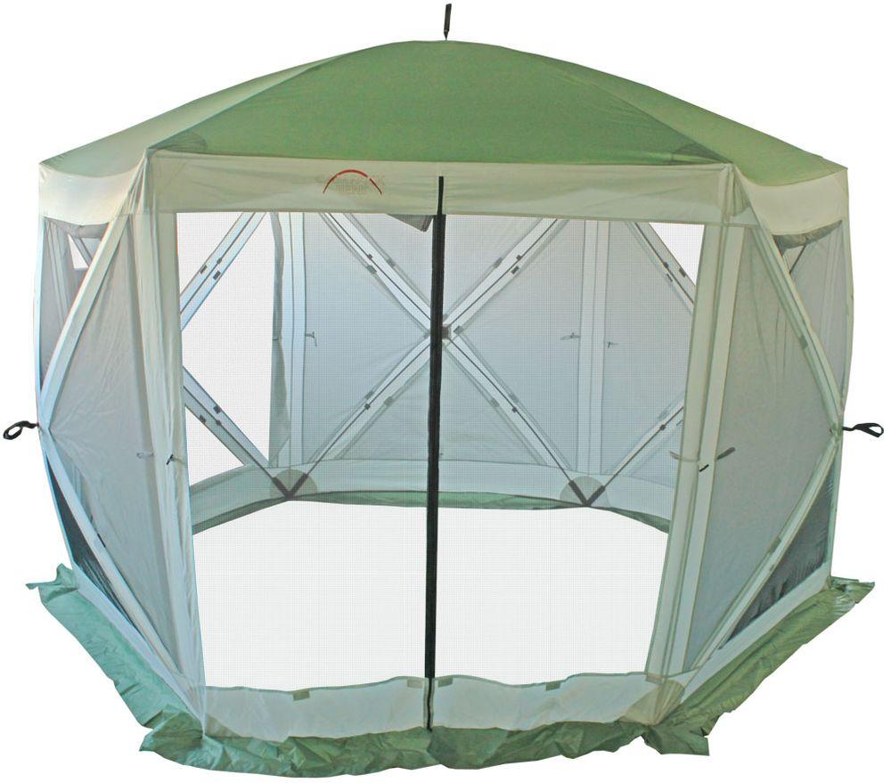 Тент Campack Tent A-2006W, с ветро-влагозащитными полотнами, 2,9 х 3,3 х 2,3 м62419Современная модель быстросборного кемпингового тента большого размера.Шестигранная конструкция тента создает большое внутреннее пространство и дополнительную стойкость каркаса. Тент отлично подойдет для организации комфортного отдыха на природе. Вместительные размеры позволят разместить столовую или кухню для большой компании. Тент оборудован антимоскитными сетками и влаго-ветрозащитными полотнами для защиты от непогоды. Полотно тента изготовлено из ткани Oxford Poly PU c полиуретановой пропиткой 3000 мм водного столба для защиты даже от сильных ливней. Швы тента дополнительно проклеены для защиты от проникновения влаги. Высококачественный каркас из фибергласса обеспечивает надежность и стойкость тента к ветровым нагрузкам.В комплекте колышки и оттяжки для закрепления тента. Тент складывается в удобную сумку из усиленной ткани.Размер: 2,9 х 3,3 х 2,3 см.Каркас: Fiberglass 11 мм.Ткань: Oxford 210D 3000 мм в.ст.