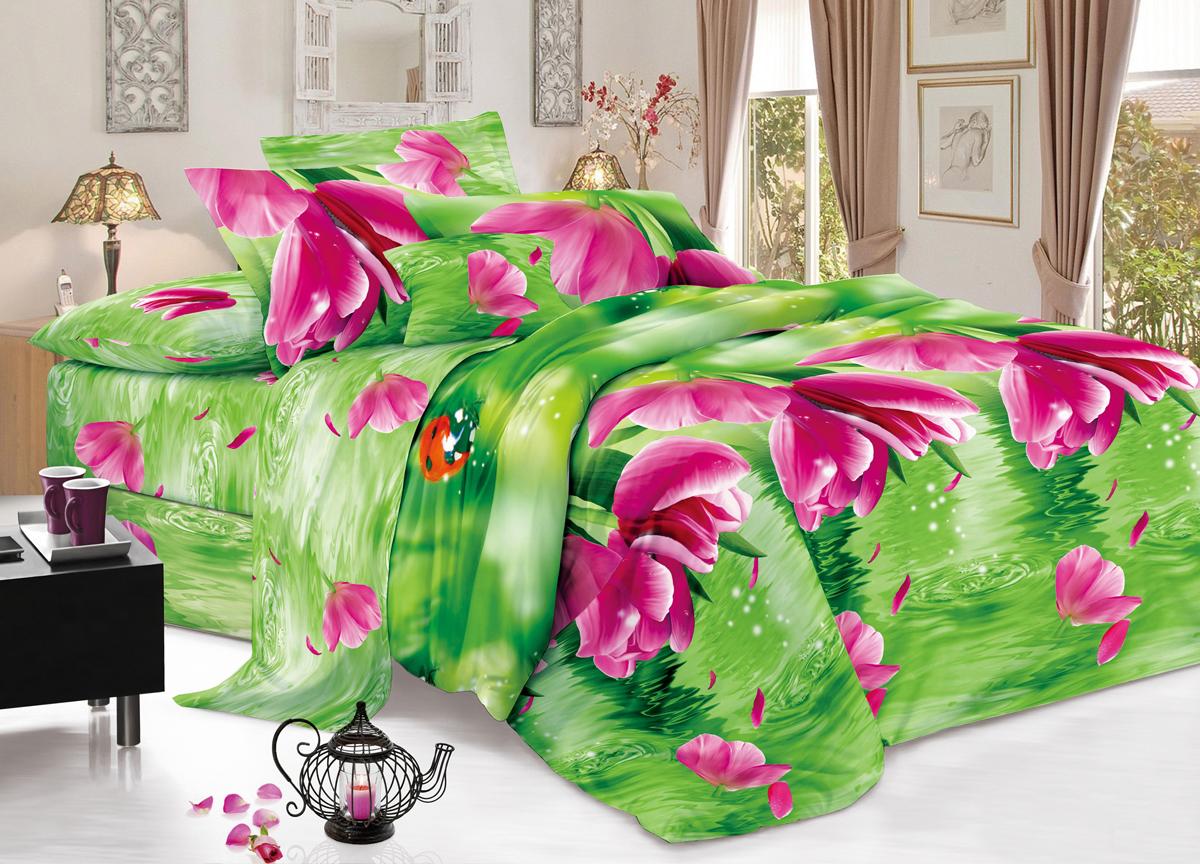Комплект белья Flora Отражение, 1,5-спальный, наволочки 70х70, цвет: зеленыйФл_Отражение_1,5спКомплект постельного белья Flora производится из полисатина (100% п/э). Ткань имеет шелковистую поверхность и приятный блеск, она мягкая и очень приятная на ощупь. К достоинствам также можно отнести долговечность, ткань не линяет, сохраняет яркость красок даже после многочисленных стирок, не садится. Проста в использовании: легко стирается и быстро сохнет.Комплектация: простыня 145 х 214 - 1 шт., пододеяльник 143 х 215 - 1 шт., наволочка 70 х 70 - 2 шт.
