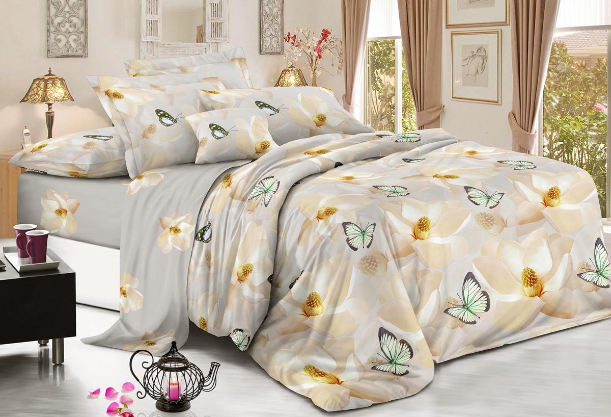 Комплект белья Flora Белоснежка, 2-спальный, наволочки 70х70, цвет: бежевый4630003364517Комплект постельного белья Flora производится из полисатина (100% п/э). Ткань имеет шелковистую поверхность и приятный блеск, она мягкая и очень приятная на ощупь. К достоинствам также можно отнести долговечность, ткань не линяет, сохраняет яркость красок даже после многочисленных стирок, не садится. Проста в использовании: легко стирается и быстро сохнет. Комплектация: простыня 200 х 220 - 1 шт., пододеяльник 175 х 215 - 1 шт., наволочка 70 х 70 - 2 шт.