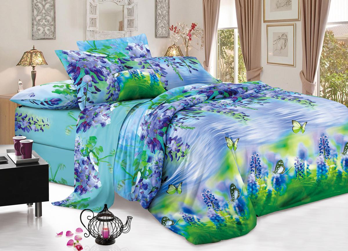 Комплект белья Flora Весенний бриз, 2-спальный, наволочки 70х70, цвет: голубой10503Комплект постельного белья Flora производится из полисатина (100% п/э). Ткань имеет шелковистую поверхность и приятный блеск, она мягкая и очень приятная на ощупь. К достоинствам также можно отнести долговечность, ткань не линяет, сохраняет яркость красок даже после многочисленных стирок, не садится. Проста в использовании: легко стирается и быстро сохнет. Комплектация: простыня 200 х 220 - 1 шт., пододеяльник 175 х 215 - 1 шт., наволочка 70 х 70 - 2 шт.
