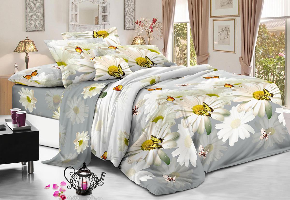 Комплект белья Flora Нежное прикосновение, 2-спальный, наволочки 70х70, цвет: белый10503Комплект постельного белья Flora производится из полисатина (100% п/э). Ткань имеет шелковистую поверхность и приятный блеск, она мягкая и очень приятная на ощупь. К достоинствам также можно отнести долговечность, ткань не линяет, сохраняет яркость красок даже после многочисленных стирок, не садится. Проста в использовании: легко стирается и быстро сохнет.Комплектация: простыня 200 х 220 - 1 шт., пододеяльник 175 х 215 - 1 шт., наволочка 70 х 70 - 2 шт.