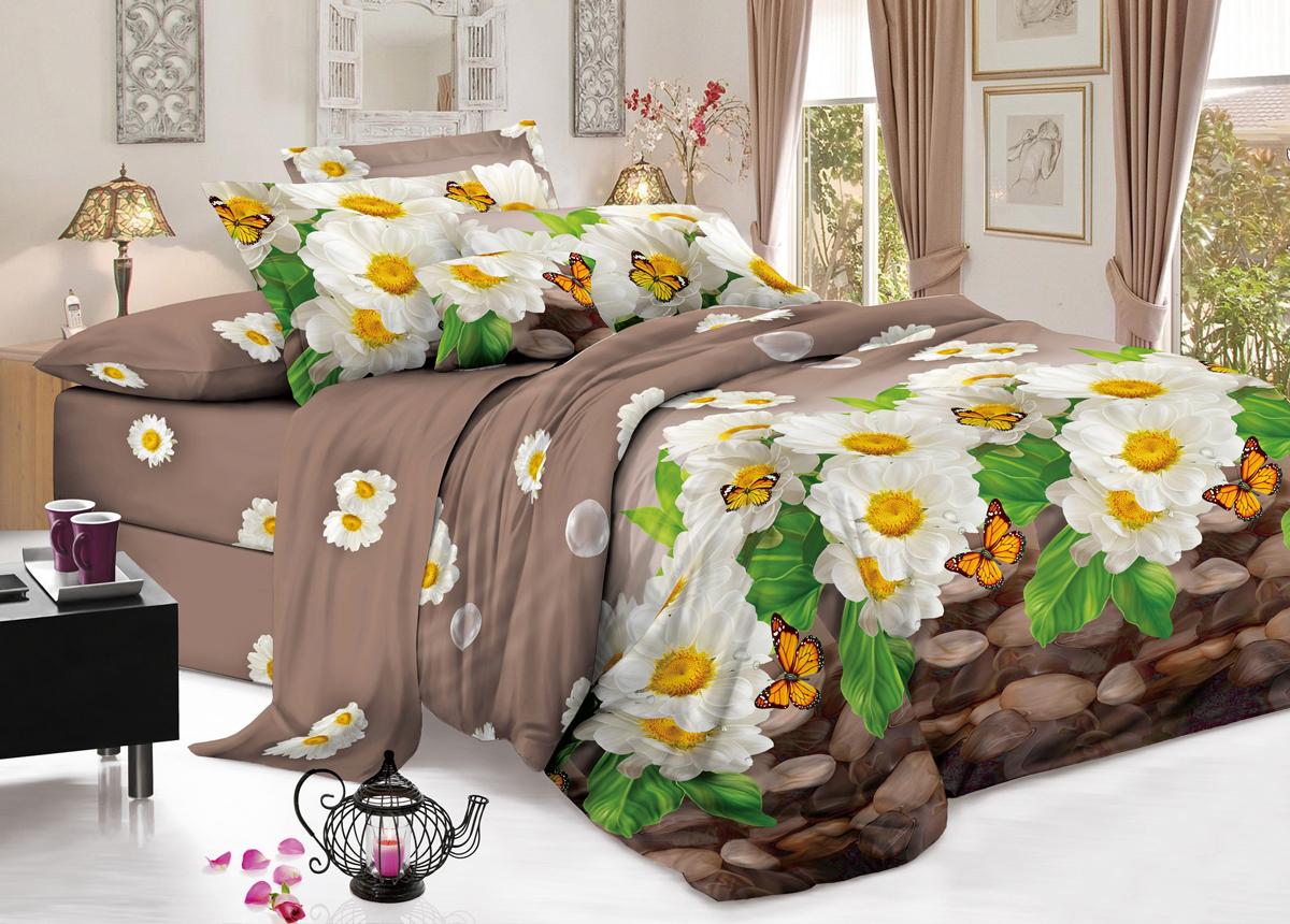 Комплект белья Flora Полет бабочки, 2-спальный, наволочки 70х70, цвет: коричневый10503Комплект постельного белья Flora производится из полисатина (100% п/э). Ткань имеет шелковистую поверхность и приятный блеск, она мягкая и очень приятная на ощупь. К достоинствам также можно отнести долговечность, ткань не линяет, сохраняет яркость красок даже после многочисленных стирок, не садится. Проста в использовании: легко стирается и быстро сохнет.Комплектация: простыня 200 х 220 - 1 шт., пододеяльник 175 х 215 - 1 шт., наволочка 70 х 70 - 2 шт.