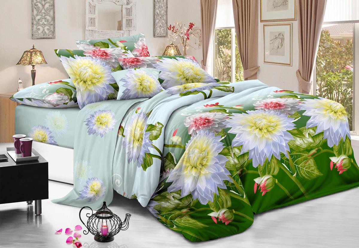 Комплект белья Flora Украшение, 2-спальный, наволочки 70х70FD-59Комплект постельного белья Flora производится из полисатина (100% п/э). Ткань имеет шелковистую поверхность и приятный блеск, она мягкая и очень приятная на ощупь. К достоинствам также можно отнести долговечность, ткань не линяет, сохраняет яркость красок даже после многочисленных стирок, не садится. Проста в использовании: легко стирается и быстро сохнет.Комплектация: простыня 200 х 220 - 1 шт., пододеяльник 175 х 215 - 1 шт., наволочка 70 х 70 - 2 шт.